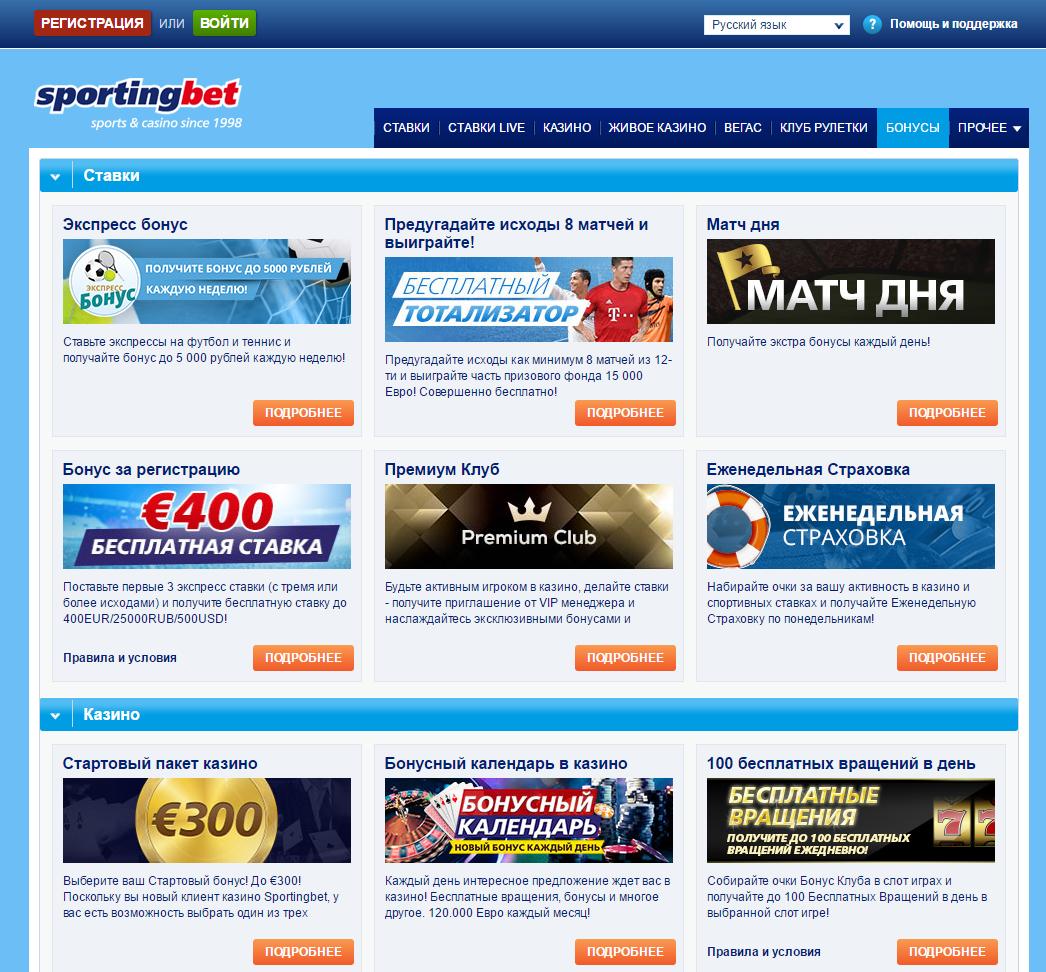 букмекерская контора Спортингбет акции и бонусы